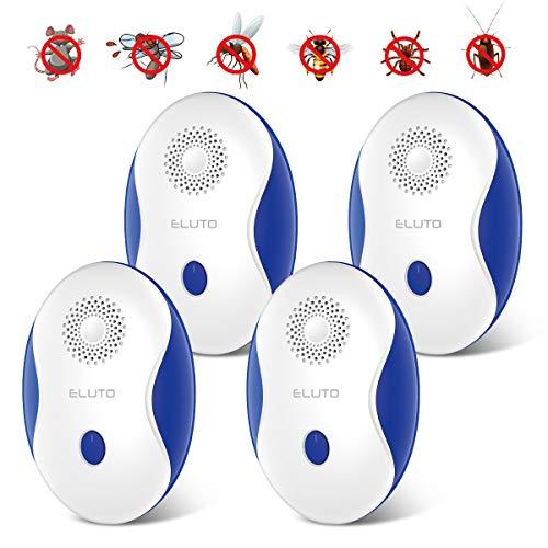 ELUTO Ultraschall Schädlingsbekämpfer Mückenschutz Pest Repeller Control Elektronische Moskitoschutz Mückenstecker für Kakerlaken,Mäuse,Fliegen (4 Stück)