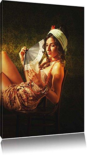 Mevrouw Fan drankFoto Canvas | Maat: 60x40 cm | Wanddecoraties | Kunstdruk | Volledig gemonteerd