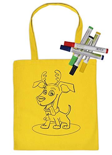 Tas om zelf te beschilderen stoffen tas en 5 stuks pennenset hond met gewei kinderen motief verven stoffen potloden Kids schilderen op foto's