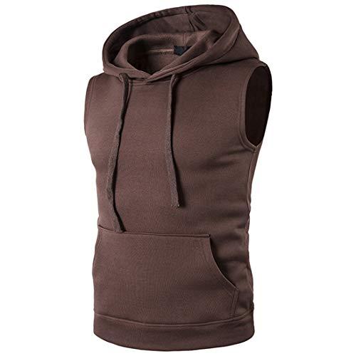 JPDD Men Sleeveless Hooded Sport Vest Blouse Gym Workout Tank Top Casual Hoodies T Shirt Men Casual Sleeveless Sports Hoodies Vest Sleeveless T-Shirt for Travel Gym More Styles Sweatshirt