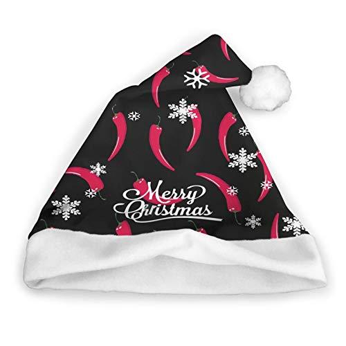 ZVEZVI Red Hot Chile Peppers Chili Food and Drink Santa Sombrero de Navidad de Pap Noel, sombrero corto de felpa con puos blancos, sombrero de Navidad para adultos