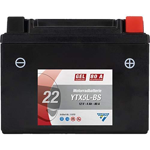 CARTEC Motorradbatterie YTX5L-BS, 4Ah, 80A, Gel Technologie Motorrad-Starter-Batterie, Erstausrüsterqualität, zyklenfest, lagerfähig, wartungsfrei