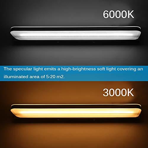 Onever LED-spiegellamp voor de badkamer, 12 W, make-up verlichting, LED-lampen boven de kast, 52 cm, wandlamp voor de badkamer, wit 6000 K 52 cm Bianco Caldo -3000k