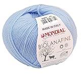 theofeel Biowolle Lane Mondial Bio Lana Fine Fb. 080 hellblau, 50g Reine Schurwolle zum Stricken, Babywolle Bio