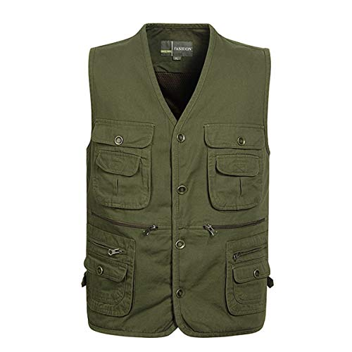 YDSH Mens Summer Multi Pocket Fishing Vest Casual Jacket Outdoor Military Tactical Hunting Fishing Fishing Camping Hiking Vest Army Green