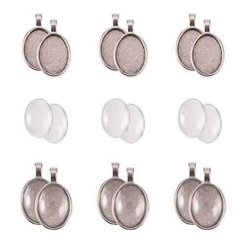 PandaHall 40pcs DIY-Anhängerherstellung, mit transparenten ovalen Glas-Cabochons und...