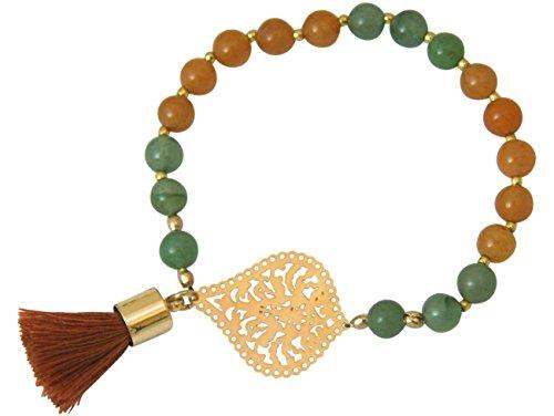 Gemshine - Mala Armband - Vergoldet - Edelstein - Lachs - Grün