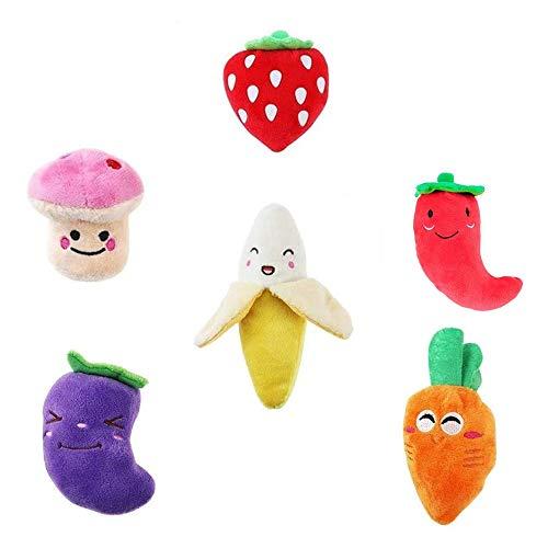 Interaktives Plüsch Quietschspielzeug für Hund Welpe Ausbildung - Kauen Quietschen Spielzeug für Klein Mittelgroße Haustier Chiwawa – 6 Stück Set, Obst Gemüse
