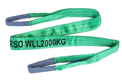 Pro-Lift-Werkzeuge 2 t Hebeband Länge 2m mit 2 Schlaufen 2- lagig Hebegurt Rundschlinge Hebeschlinge Baumgurt Bergegurt Abschleppseil Schlupf