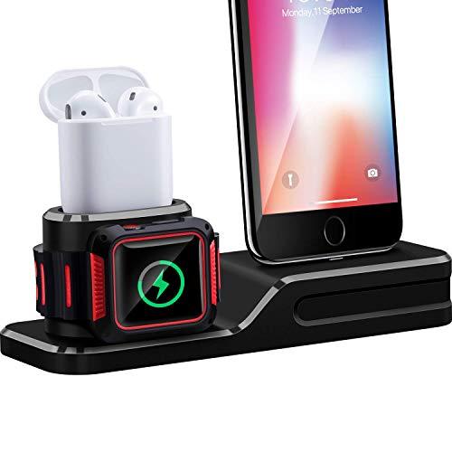 Maxdot Base de Carga para Apple Watch Series iPhone Airpods, Estación de Carga de Siliona 3 en 1 para…