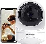 Muson Camara Vigilancia Wifi Interior, Cámara IP WiFi FHD 1080p, Visión Noturna& Sensor Movimiento& Audio Doble Vía& Admite Tarjeta SD& Compatible con Alexa, Camara Seguridad Bebés