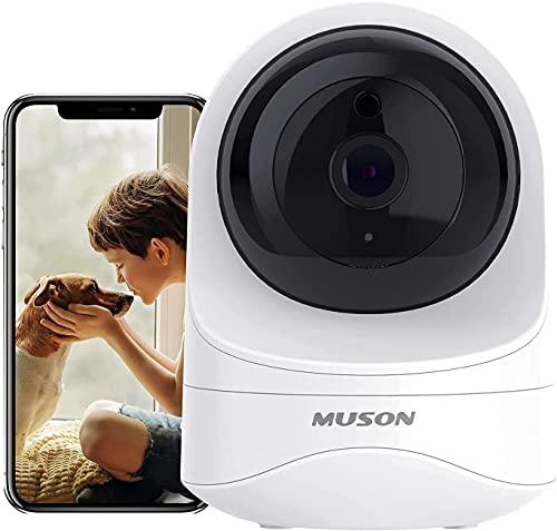 HD Überwachungskamera Innen, Muson 1080P WLAN IP Kamera Überwachung mit Nachtsicht& Bewegungsmelder& Speicher& 2-Wege-Audio, Heimkamera für Haustier/ Baby/ Ältere, Kompatible mit Alexa
