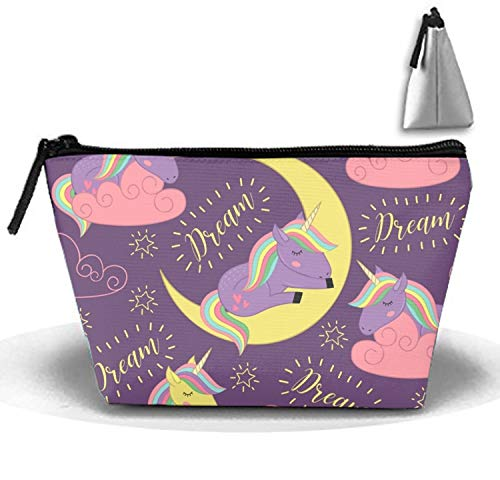 Waterproof Sleeping Unicorn Cosmetic Bags Portable Travel Trapezoidal Toiletry Pouch