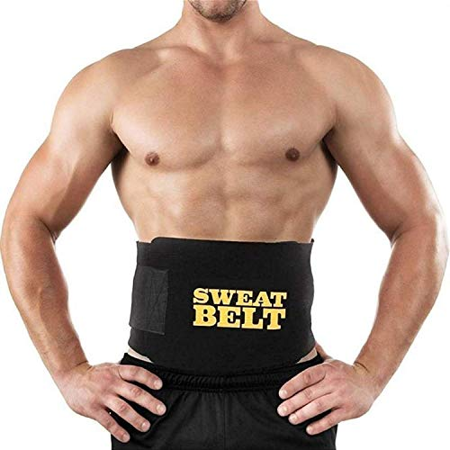 Rizzer ® Sweat Waist Trimmer Fat Burner Belly Tummy Yoga Wrap Black Exercise Body Slimming Belt for Men & Women