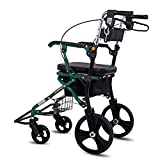 Medical Folding Rollator Walker Rolling Walker with Seat & Bag - Mobility Aid