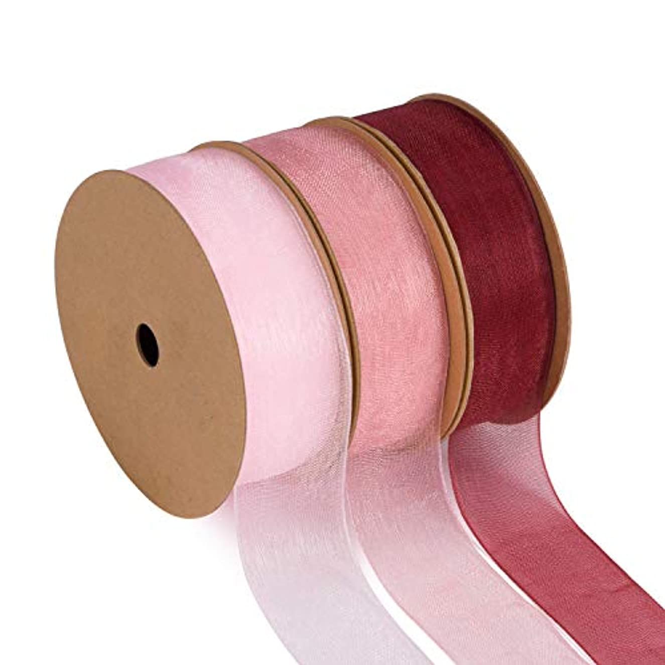 LaRibbons 3 Pack Sheer Organza Ribbon - 1''X 25 Yard Each Roll, 3 Rolls (Burgundy + Rose + Light Pink) Ribbons for Wedding Decor, Bouquets, Gift Wrapping