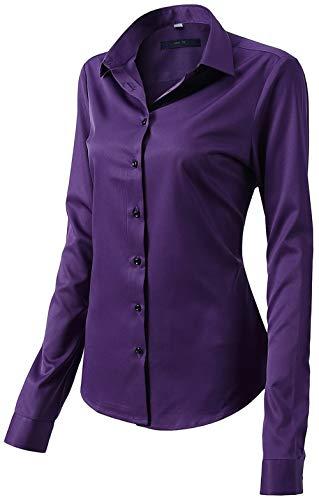 Damen Bluse aus Bambusfaser Elastisch Slim Fit Hemd für Freizeit Business Figurbetonte Hemdbluse Langarm Elegant Shirt Bügelfrei Violett 48/22