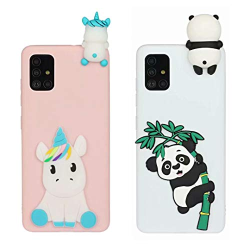 [2 Pack] Case for Samsung Galaxy A70, 3D Cartoon Silicone Soft Silicone Gel TPU Shockproof Protective Cases Slim Fit Ultra Thin Rubber Bumper Funny Girly Cover for Samsung Galaxy A702Pcs-6