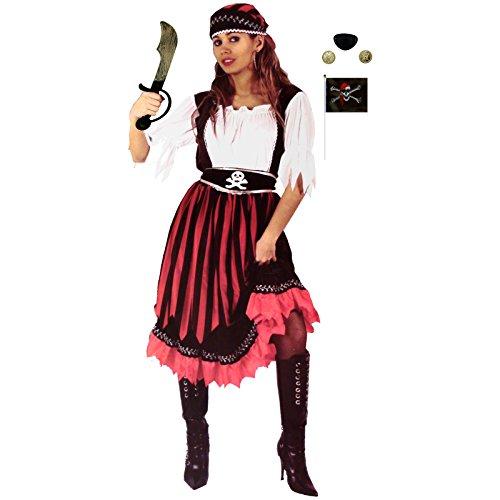 Unbekannt Piratin Gr. XL-XXL 8-teilig Kostüm + Piratenset mit Piratensäbel Damen Faschingskostüm (XL)