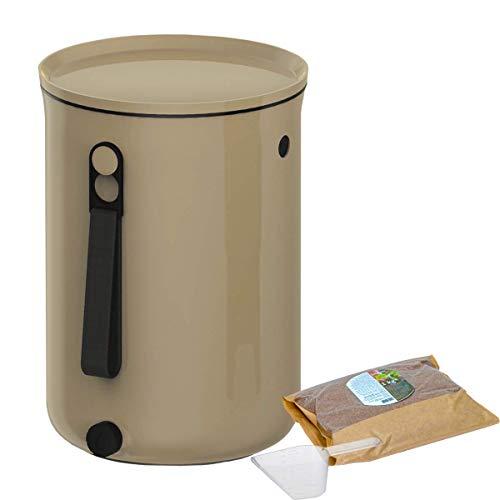 Skaza Bokashi Organko 2 (9.6 L) Compostiera per Cucina in plastica Riciclata | Starter Set con Miscela di fermentazione Bokashi Organko 1 kg (Cappuccino)