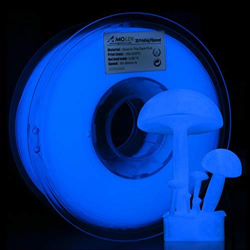 AMOLEN Imprimante 3D Filament PLA, Glow in the Dark Bleu Profond Filament PLA 1.75mm 1KG pour Imprimante 3D et Stylo 3D