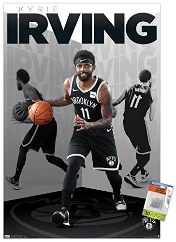"Trends International NBA Brooklyn Nets - Kyrie Irving 19 Wall Poster with Push Pins,""22.375"""" x 34"""""""