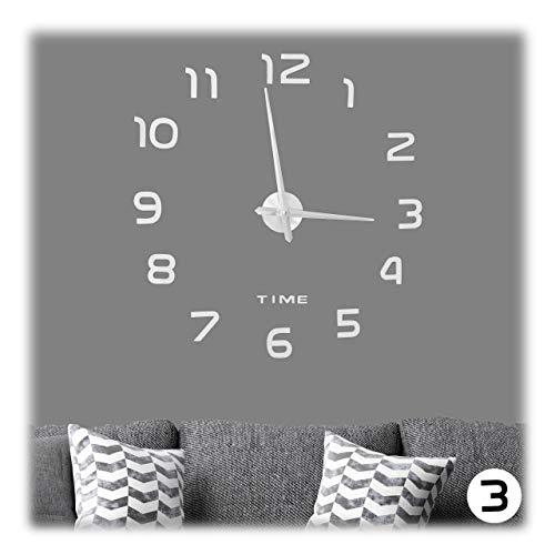 Relaxdays DIY Wanduhr, 3D-Zahlen, Uhr Wandtattoo zum Aufkleben, einfache Installation, Größe variabel, modern, silber