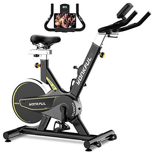 YONKFUL Stationary Bike Indoor Exercise Bike Belt Drive Cycling Bike for Home Gym with LCD Display and Ipad Holder