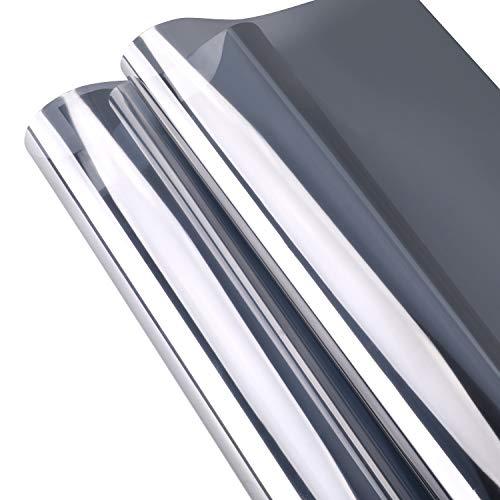 KINLO 300 x 75cm Spiegelfolie Fensterfolie Sonnenschutzfolie Ohne Kleber für Fenster Sichtschutzfolie aus PVC 99% UV-Schutz Privatsphäre Glas Fensteraufkleber (Silber)