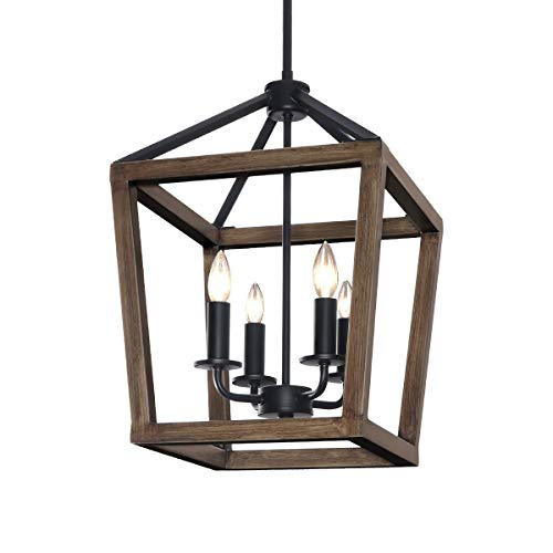 KingSo 4-Light Chandelier Rustic Metal Pendant Light,...