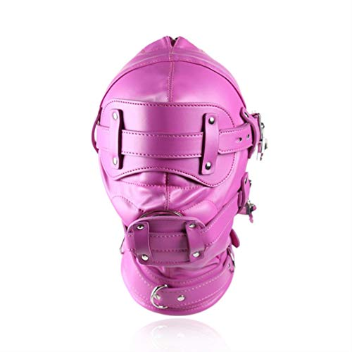 Face Mask Ball Gag Hoofddeksels Kostuum Sexy Toy PU leer Comfortabele Lightweight Adjustable voor Vrouw Man,Long dildo