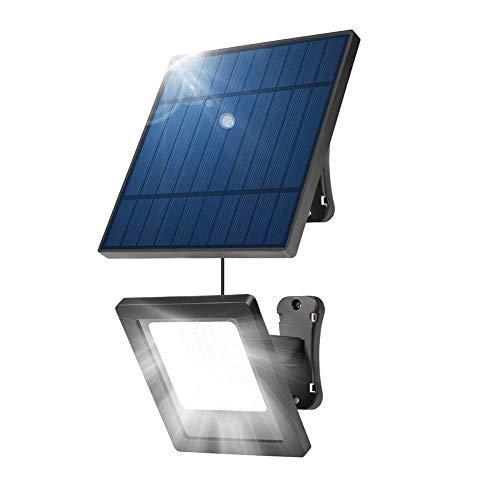 Waqihreu Luces solares para Exteriores, Foco IP65, Luces de Pared Impermeables, Luces de Seguridad Solar, Panel Solar Ajustable para Patio, jardín, 30 LED, Cable de extensión de 2,8 Metros