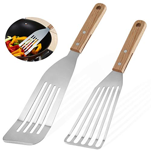 Grilljoy 2-Piece Slotted Fish Spatulas, 9 inch & 12 inch Fish Flippers, Flexible Stainless Steel Blade with Beveled Edge, Ideal Turning & Flipping Kitchen Tool for Perfect Grilling & Frying & Cooking