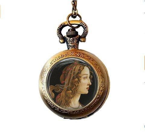 Nijiahx Porträt-Anhänger – Botticelli Simone Vespucci Anhänger Halskette – Italienische Renaissance Taschenuhr Halskette – Klassischer Kunstschmuck – Geschenk für Kunstliebhaber