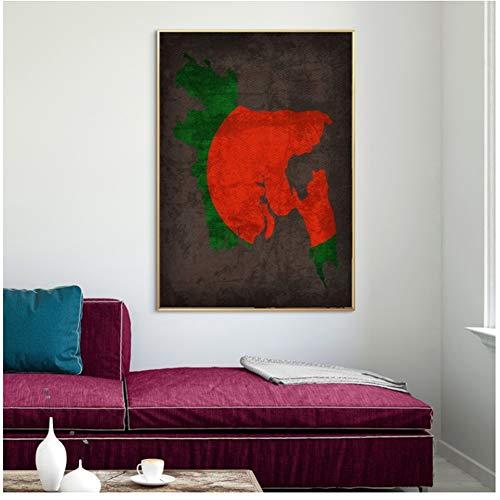Mode huis abstract schilderij print land vlag kaarten poster Bangladesh vlag kaart canvas print Home decor Wall Art decor-60x90cm geen frame
