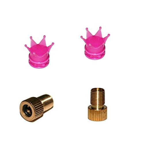 KUSTOM66 2er Set Ventilkappen und 2 Fahrrad Adapter - Krone - in pink für jedes Fahrrad geeignet