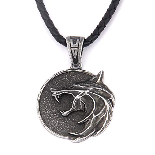 HAQUIL Witcher Necklace - Metal Alloy, Growling Wolf Medallion Round Pendant - Leather Cord, 19.7'