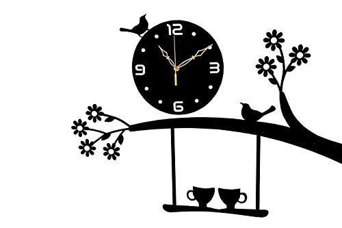jb enterprise 3D Acrylic Wall Clock Tree Bird Coffee Cup On Jhula Design for Living Room, Bedroom Wall, Home and Office - Black