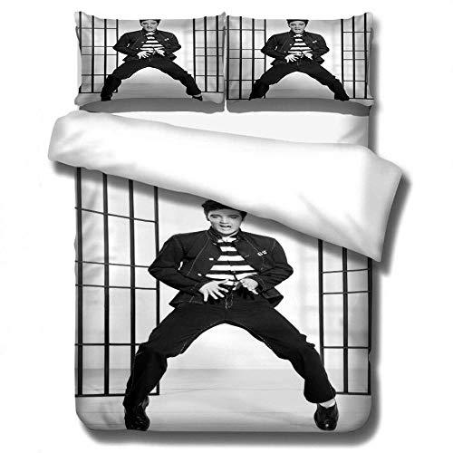 SixyeLiuzhi Klassische Porträt Bettwäsche Set Elvis Presley Drucken Bettbezug-Set König Königin Bettwäsche Kissen Das König,228x228cm(3Stück)