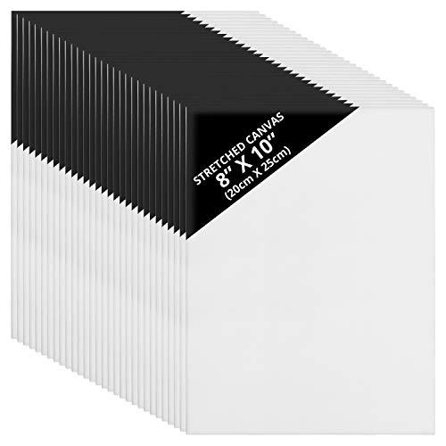 Belle Vous Lienzos para Pintar en Blanco (Pack de 30) 20 x 25 cm – Set Panel de Lienzo Preestirado – Aptos para Pintura Acrílica y al Óleo - Lienzo Blanco para Bocetos y Dibujos