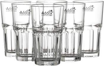Addox® Crystal Clear Glass Water 6 Pcs 315 ml Juice Cold Drink Shakes Mocktail Drinking Glass