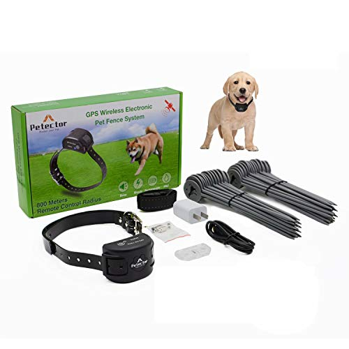 GPS Wireless Dog Fence System, Electric Pet Fence Containment System with Waterproof & Rechargeable Training Collar for Dogs & Cats Over 5 lb Outside Camping Yard (2021 Latest)