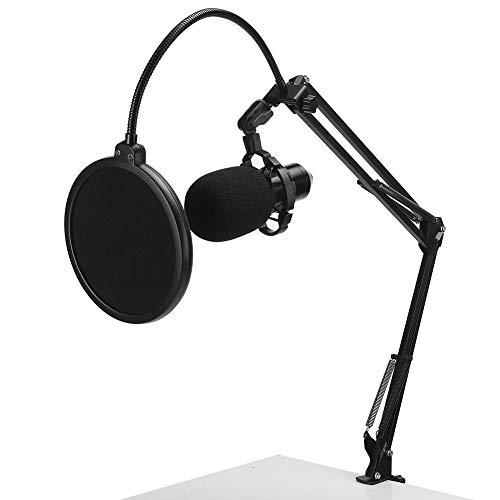 Micrófono de condensador, micrófono con marco de plástico antivibraciones, kit de micrófono de podcast profesional, para retransmisiones, grabaciones