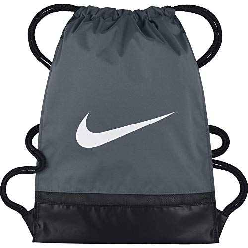 Nike Brasilia Training Gymsack, Drawstring Backpack with Zippered Sides, Water-Resistant Bag, Flint Grey/Black/White