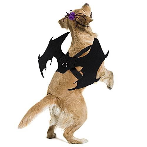Dorakitten Costumes d'Halloween pour chien – Grandes ailes de chauve-souris Cosplay pour chien avec laisse et chapeau d'araignée pour chiens de moyenne et grande taille