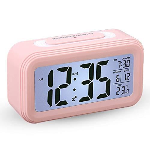 AISOO Sveglia LCD Digitale da Comodino, Silenziosa Multifunzioni Elettroniche Intelligente Orologio Allarme Mostra Ora,Temperatura,Data Snooze Sensore Notte Regalo per Bambini Anziani Camera da Letto
