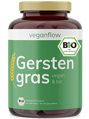 veganflow® BIO Gerstengras-Kapseln, hochdosiert, 180 Kapseln (vegan) je 500 mg Gerstengras-Pulver, hoher Nährstoffgehalt