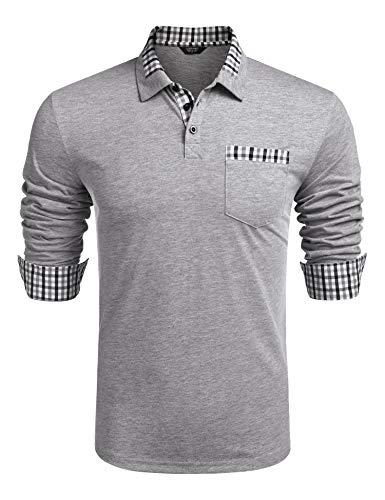 COOFANDY Herren Poloshirts Lamgarm Basic Polohemd Regular Fit Sommer Poloshirts Polohemden Plaid Polo Shirt für Männer Grau M