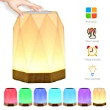 Night Light, UNIFUN Touch Lamp for Bedrooms Living Room with Timer Function Portable Table Bedside Lamps, Nursery Lamp with USB Rechargeable Dimmable Warm White Light & Color Changing RGB