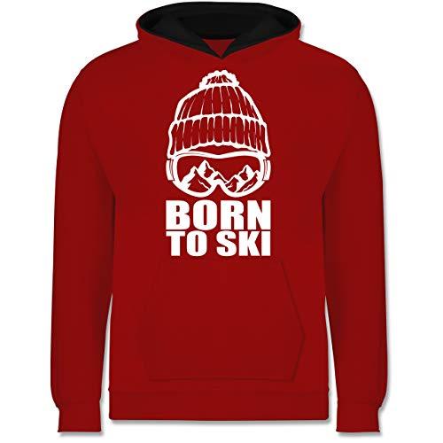 Sport Kind - Born to Ski - 128 (7/8 Jahre) - Rot/Schwarz - Skier Kinder 8 Jahre - JH003K - Kinder Kontrast Hoodie